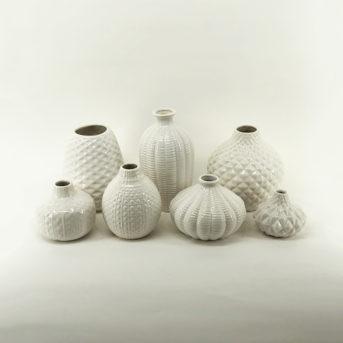 Assorted White Ceramic Vases