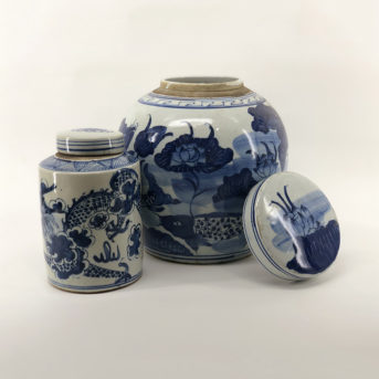 Assorted Blue + White Chinese Ginger Jars