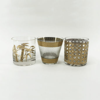 Assorted Mid-Century Gold Tumblers / qty 18 / $4 each