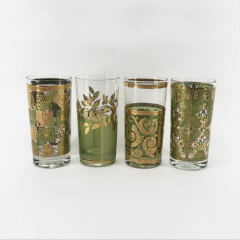 Assorted Mid-Century Green + Gold Highballs / qty 22 / $5 each