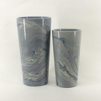 Blue + White Marbled Vases // 2 sizes
