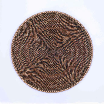 Calaisio Rattan Round Placemat with Gold Beads / qty 72 / $2.50