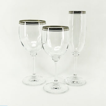 Platinum Rim Glassware / qty 100 each / $1.50 per piece