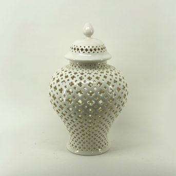 Pierced White Ceramic Ginger Jar // 2 sizes