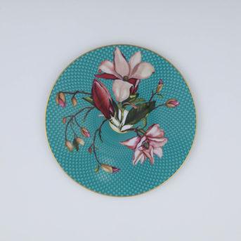 Raynaud Tresor Fleuri Turquoise Magnolia Salad Plate / qty 26 / $9 each