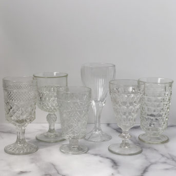 Clear Pressed Glass / qty 337 / $3 each