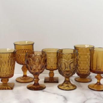 Dark Amber Pressed Glass / qty 132 / $3 each