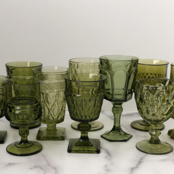Olive Green Pressed Glass / qty 134 / $3 each