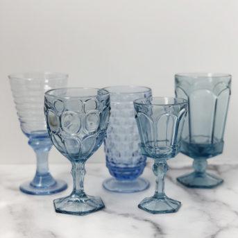 Sky Blue Pressed Glass / qty 59 / $3 each