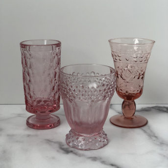 Pink and Pressed Glass / qty 18 / $3 each