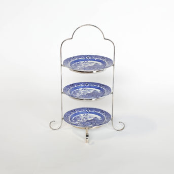 Three Tier Silver Dessert Plate Rack / Plates are Interchangeable / qty 1 / $4 with plates